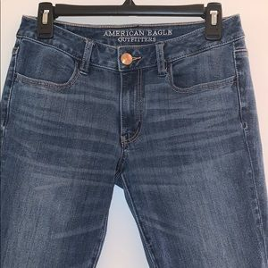 AE outfitters medium wash denim skinny jeans.